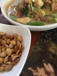 some nuts and a green curry of sorts